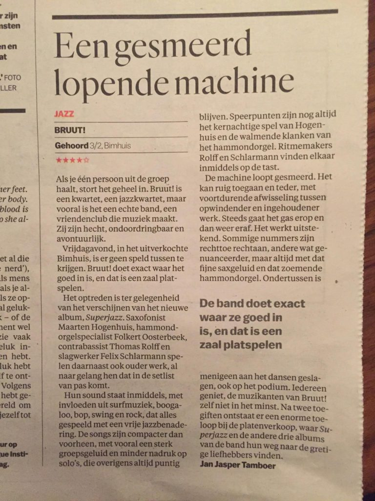 BRUUT Superjazz review Parool